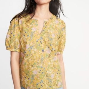 Old Navy Yellow Twill Puff-Sleeve Floral Blouse
